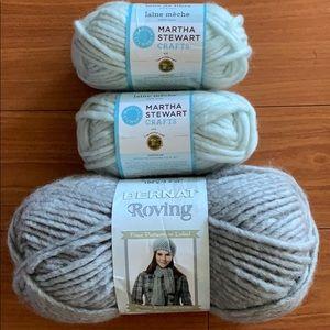 Wool Roving 3 Lot Bundle Aqua Grey Weaving Craft